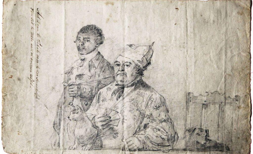 Augustus van Bengalen houdt de pijp van slavenhouder Hendrik Cloete vast, ca. 1778