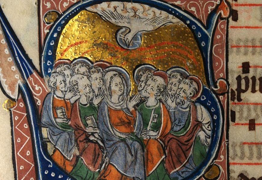 Middeleeuwse verbeelding van de uitstorting van de Heilige Geest (14e eeuw)