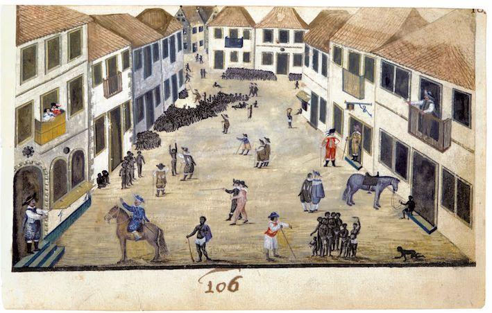 De slavenmarkt in Recife Zacharias Wagener, ca. 1637–1641, het Mauritshuis Den Haag