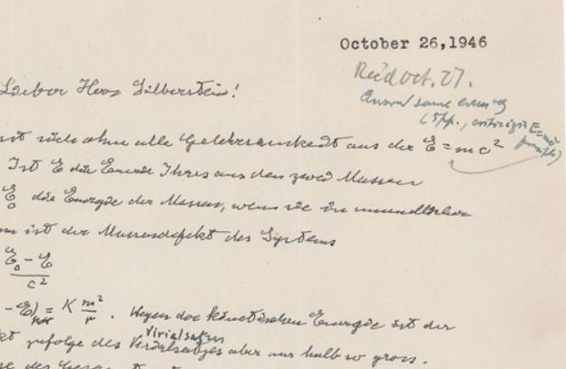E=mc2 op de geveilde brief van Einstein