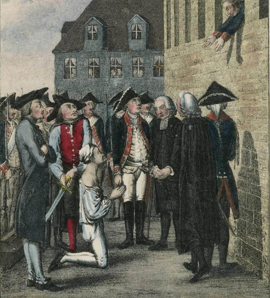 Hans Hermann von Katte wordt onthoofd. Frederik moet vanuit het venster toekijken.