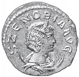 Munt van Zenobia. Deze munt werd geslagen in de periode dat Zenobia het openlijk opnam tegen Rome. Want het 'aug' na haar naam geeft aan dat ze zichzelf als een 'Augusta' beschouwde, oftewel als een moeder van de keizer (de titel die ze voor haar zoon claimde). Uit: Vijanden van Rome