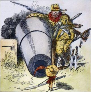 """Cartoon uit 1903 getiteld """"Go Away, Little Man, and Don't Bother Me"""". Roosevelt intimideert Colombia zodat hij zeggenschap krijgt over de Panama Canal Zone."""