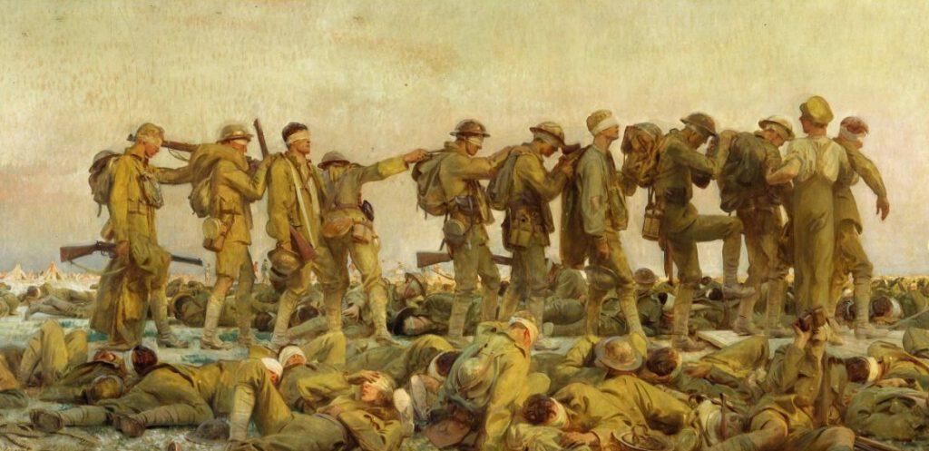 Slachtoffers van een gifgasaanval - Schilderij 'Gassed' van John Singer, 1918