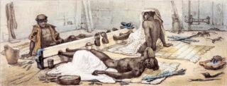 Tot slaaf gemaakte mensen, geketend in een voetboei Jean-Baptiste Debret, ca. 1830