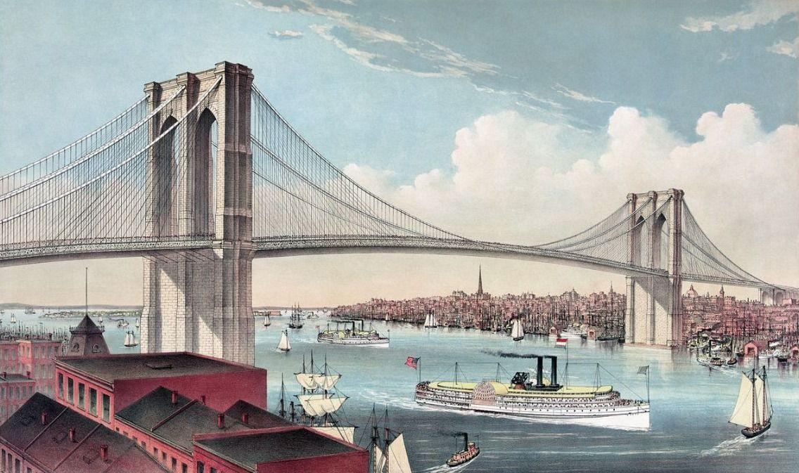Chromolithografie van de Brooklyn Bridge in uit 1883 door Currier and Ives