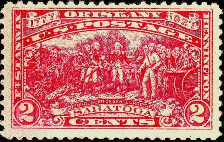 Overgave van Burgoyne op een Amerikaanse postzegel uit 1927