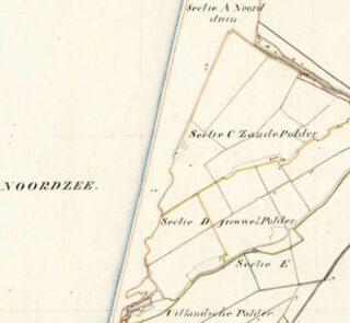 Kadastraal kaartje van Callantsoog. De gemeente wilde een klein deel van sectie D ruilen voor een groot deel van sectie A: duinen en strand – Noord-Hollands Archief.