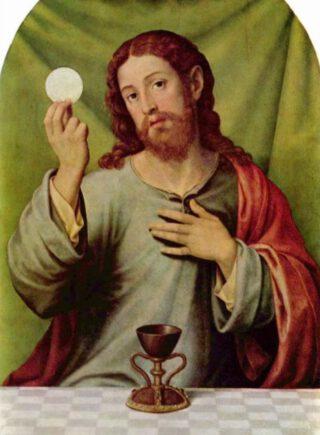 Christus in Eucharistie, door Juan de Juanes, 16e eeuw