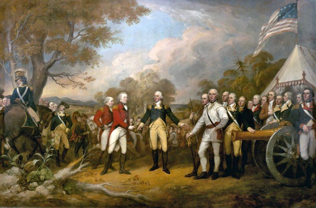 De Slag bij Saratoga - Schilderij van de overgave van generaal Burgoyne