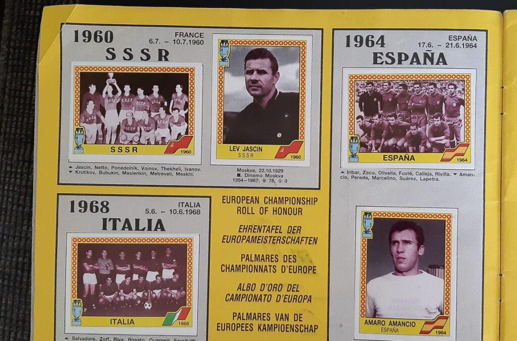 Eerste winnaars van het EK Voetbal in het Panini-album van 1988