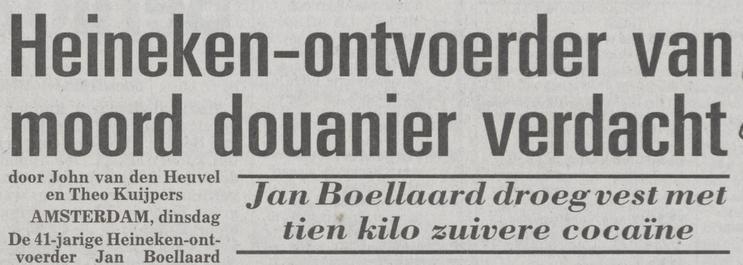 Kop in de Telegraaf over de moord op de douanier waar Jan Boellaard voor wordt veroordeeld - Telegraaf, 4 januari 1994