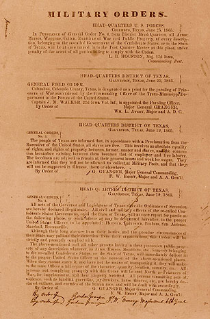 Generaal Gordon Grangers General Order No. 3 van 19 juni 1865.