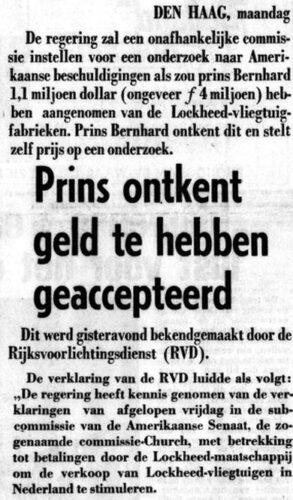 Bericht over de Lockheed-affaire in De Telegraaf van 9 februari 1976