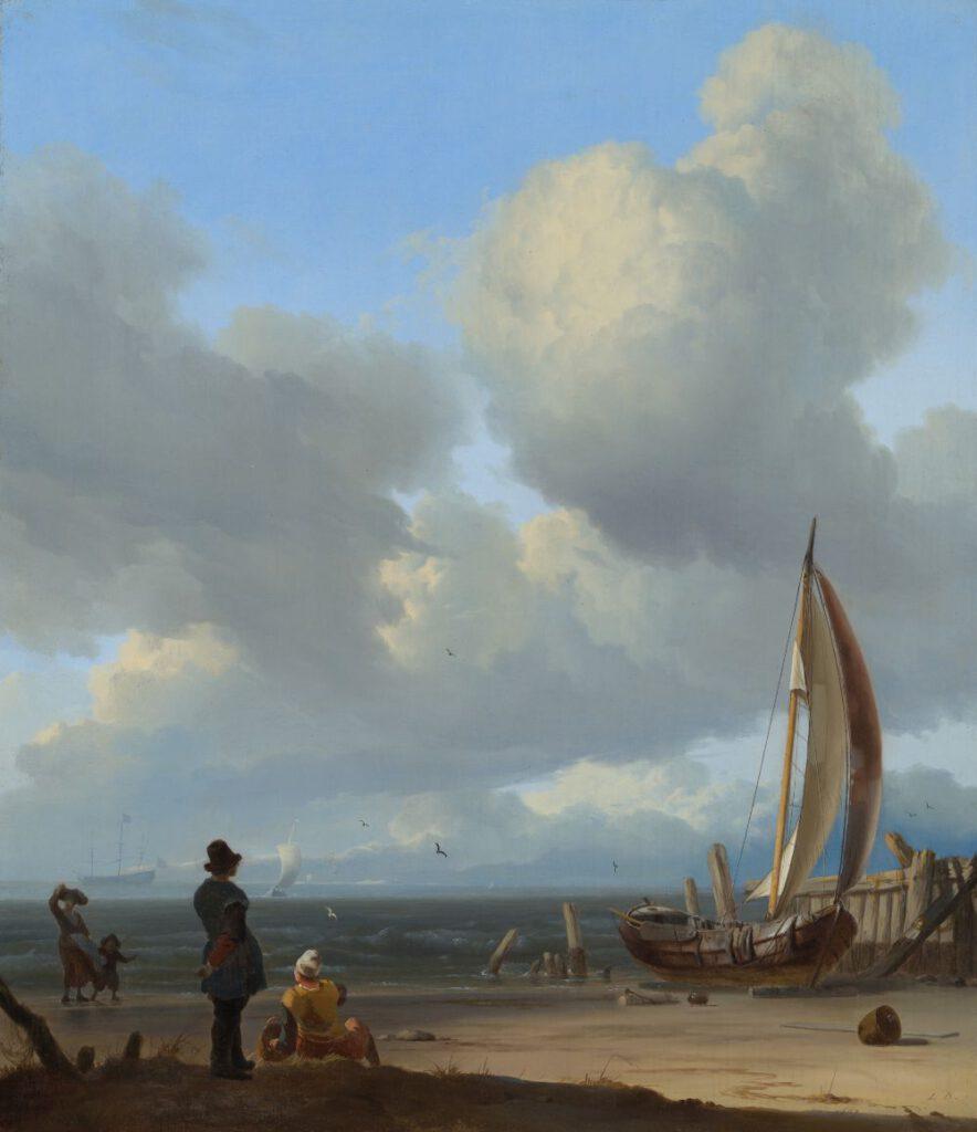 Ludolf Bakhuysen, Zeegezicht met figuren bij een schip op de kust, 1667