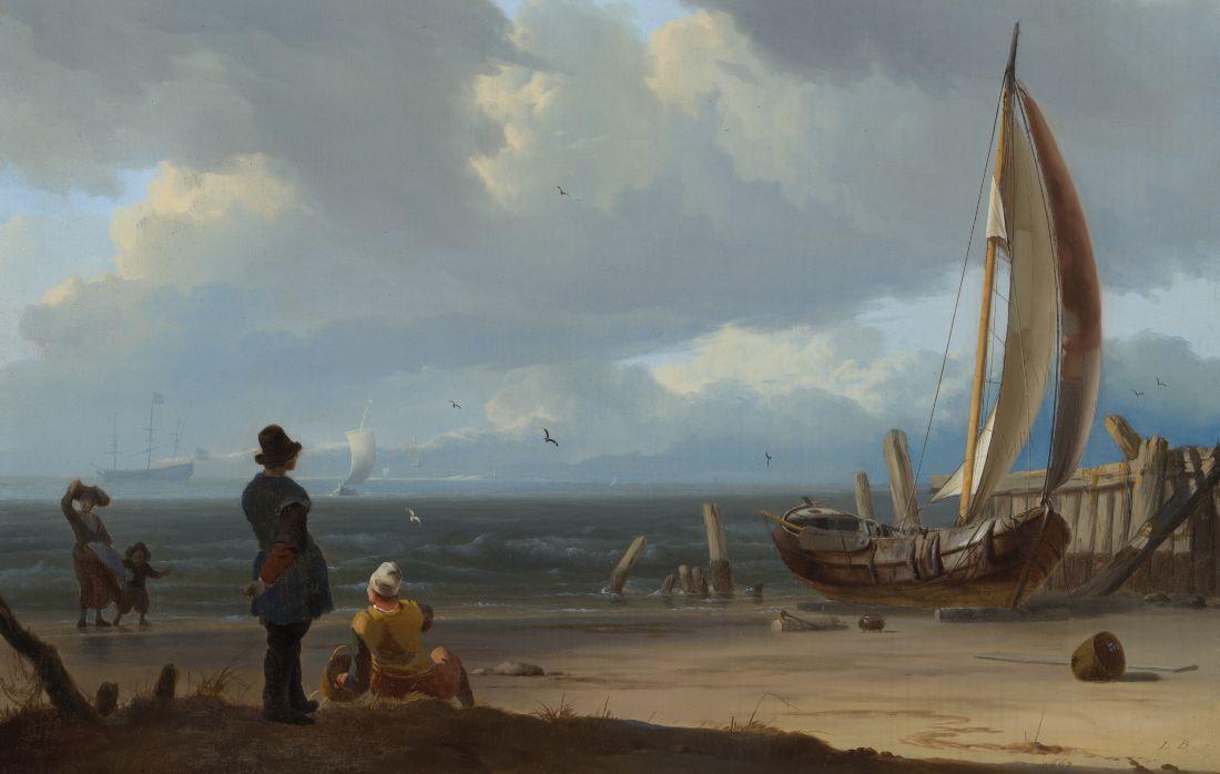 Ludolf Bakhuysen, Zeegezicht met figuren bij een schip op de kust, 1667 - detail