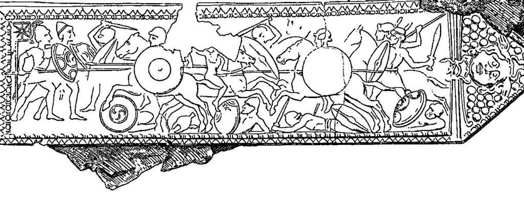 Illustratie van een bronzen plaat uit Pergamon door Alexander Conze die waarschijnlijk de Slag bij Magnesia voorstelt