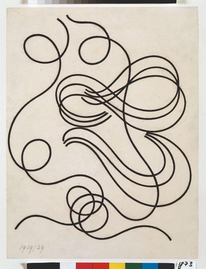 Sophie Taeuber-Arp - Mouvement de lignes, trait large (Zeichnung für Poèmes sans prénoms), ca. 1939–1941 - Pastelkrijt op papier, 34,5 × 26,3 cm - © Privatbesitz, Depositum Aargauer Kunsthaus Aarau - Fotocredit: Peter Schälchli