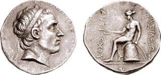 Een munt van Antiochos III uit het jaar 197 v.Chr.