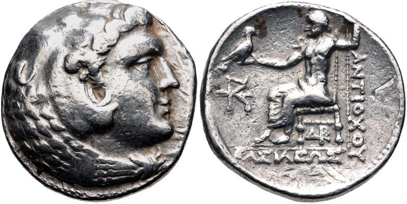 Munt van Antiochos III uit de tijd voor de opstand van Molon, ca. 223 v.Chr.