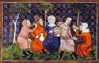 Boeren delen brood - Afbeelding uit de 'Livre du roi Modus et de la reine Ratio', 14e eeuw