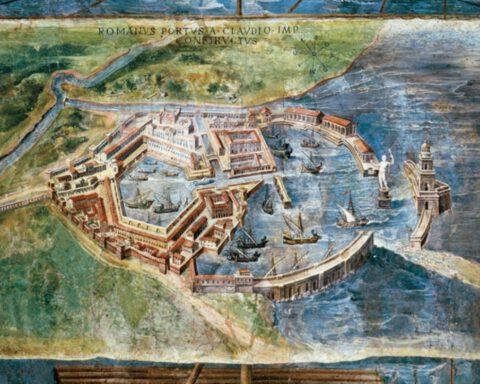 Een zestiende-eeuwse fresco van een geïdealiseerde Portus uit het Vaticaan. Rechts omarmen de twee pieren het gedeelte van keizer Claudius' haven. Links is het hexagonaal bassin van Trajanus te zien