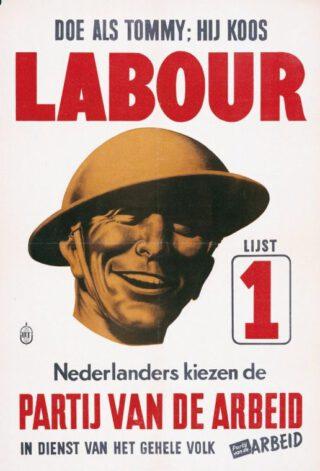 De PvdA probeerde in 1946 kiezers te winnen door te wijzen naar de winst in 1945 van de Britse Labour Party