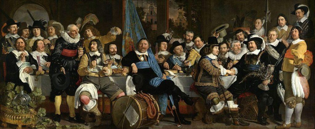 Schuttersmaaltijd ter viering van de Vrede van Munster, waarmee aan de Tachtigjarige Oorlog tussen Spanje en de opstandelingen in de Republiek een einde kwam