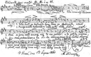 Oorspronkelijke versie van het lied door Škroup
