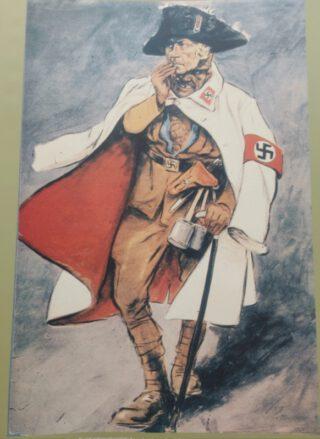 Anti-nationaalsocialistische spotprent van Hermann Seehafer getiteld 'Het masker valt', over de unie tussen het nationaalsocialisme en de Pruisische traditie tijdens de Dag van Potsdam, 1933