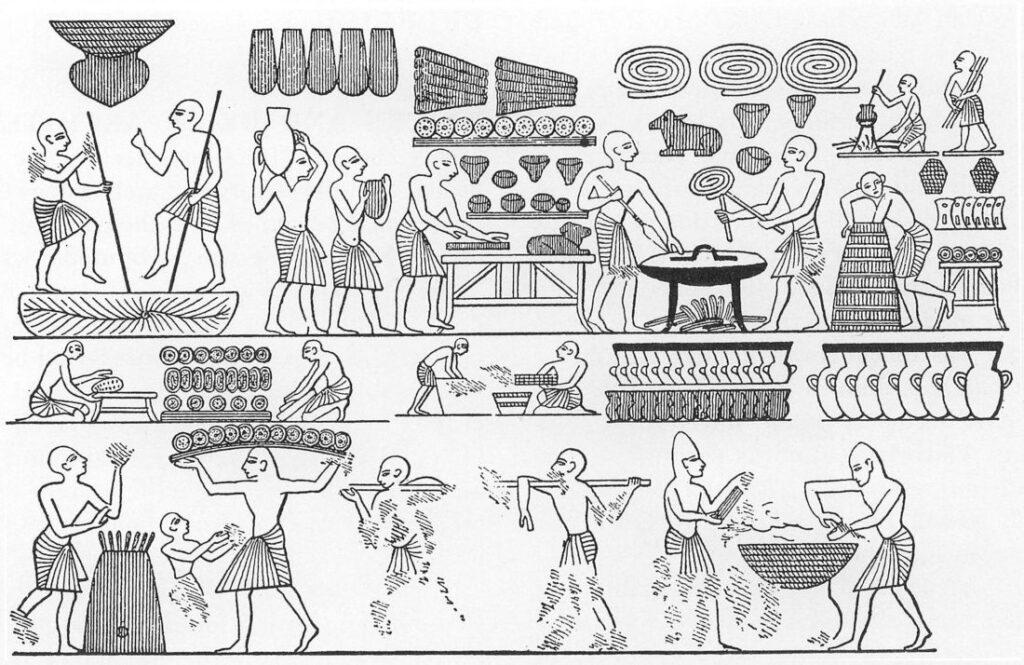 Zo bakten de Oude Egyptenaren brood. Afbeelding aangetroffen bij de tombe van farao Ramses III