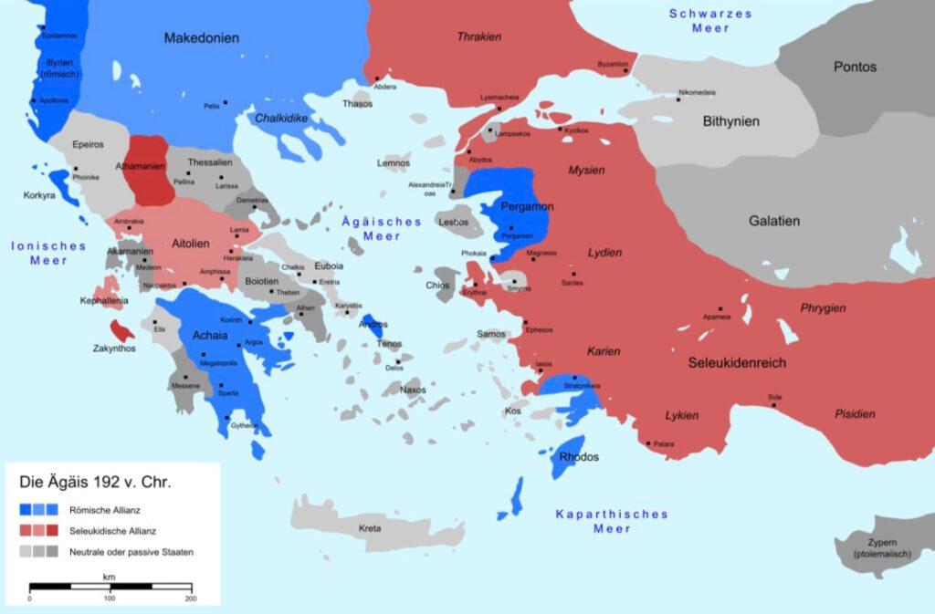 De politieke situatie in het Egeïsche gebied in 192 v.Chr. Blauw: Rome en bondgenoten, rood: de Seleuciden en hun bondgenoten.