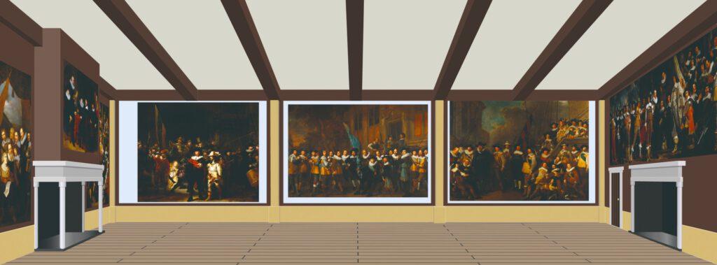 Een reconstructie van de grote zaal van de Kloveniersdoelen in Amsterdam waar de Nachtwacht onderdeel was van een ensemble van zeven schuttersstukken.