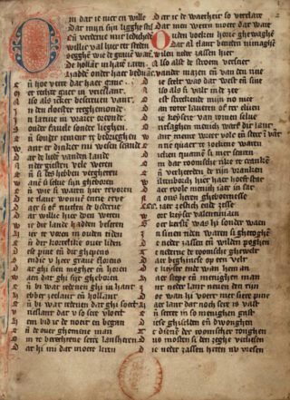 Eerste bladzijde van een veertiende-eeuws handschrift van de Rijmkroniek