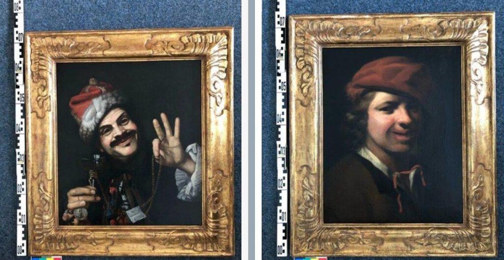 De twee gevonden schilderijen. Links het werk van Bellotti, rechts het schilderij van Samuel van Hoogstraten