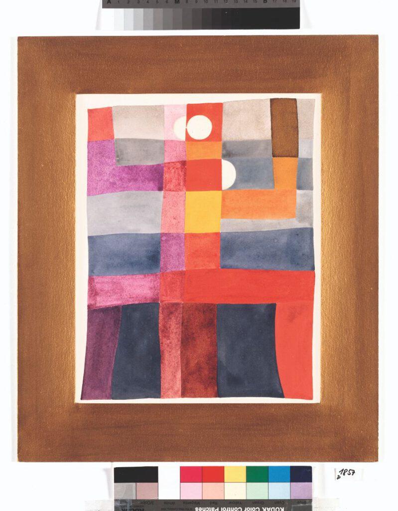Sophie Taeuber-Arp - Motif abstrait (personnage double). Composition verticalehorizontale, 1925 - Gouache op papier 32 × 25,2 cm - © Privatbesitz, Depositum Aargauer Kunsthaus Aarau - Fotocredit: Peter Schälchli