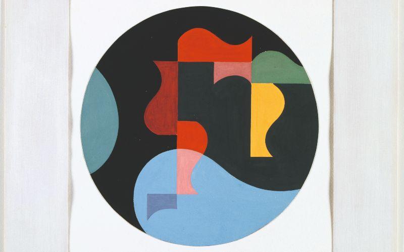 Sophie Taeuber-Arp - Composition dans un cercle (éléments d'objets coïncidents), 1936 - Gouache op papier, 27,8 × 26 cm - © Privébezit Depositum Aargauer Kunsthaus Aarau - Fotocredit: Peter Schälchli
