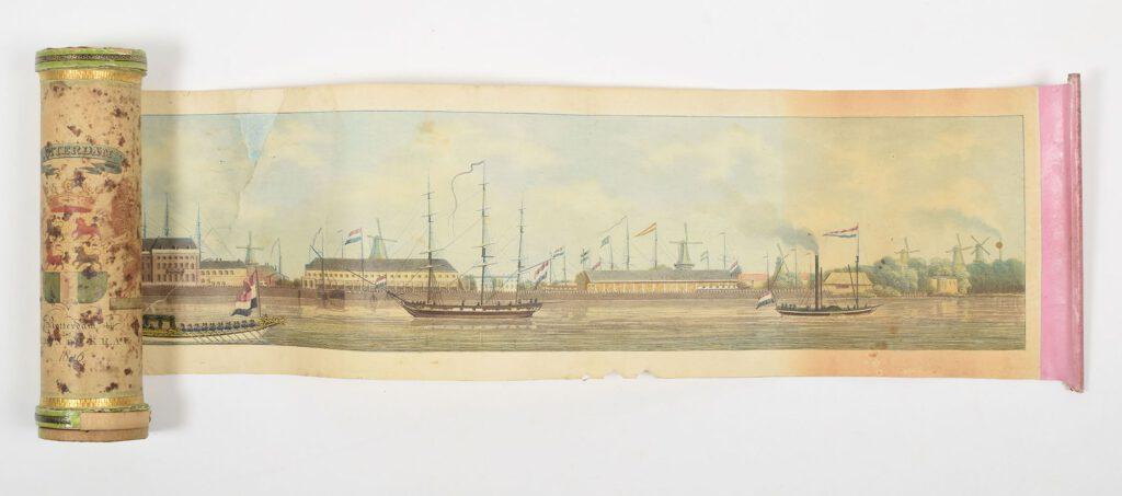 Rolprent met gezicht op Rotterdam in cilinder, 1826 - Quirijn Maurits Rudolph Ver Huell