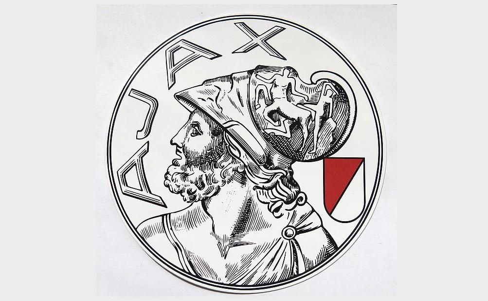 Sticker van de F-side met het oude Ajax-logo