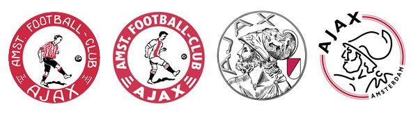 De verschillende Ajax-logo's. Het logo van 1900-1911, van 1911-1928, van 1928-1990, van 1990 tot nu.