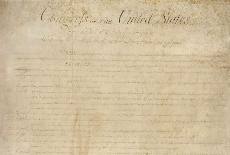 Pagina van de originele Bill of Rights