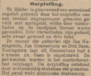 Bericht over het drama in 'De Tijd' van 15 juli 1900. Dan is nog sprake van drie dodelijke slachtoffers