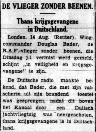 Bericht over de krijgsgevangenschap van Douglas Bader in 'De Indische courant' van 15 augustus 1941