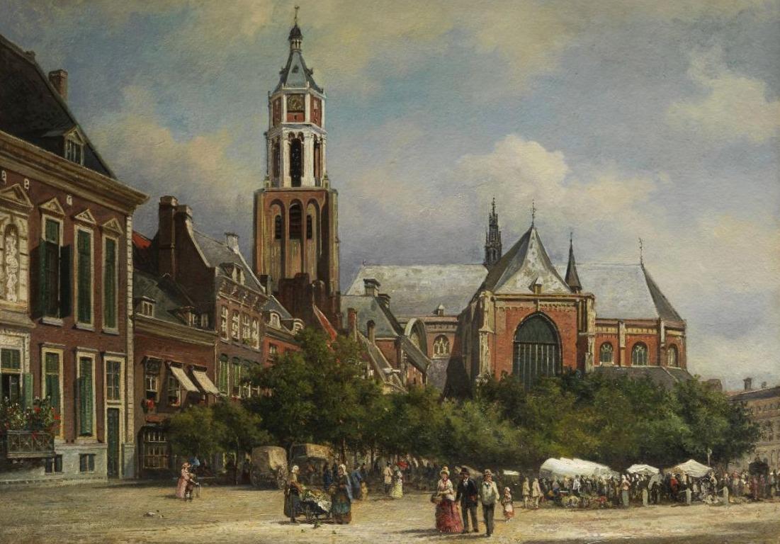 Eusebiuskerk in 1884 - Detail van een schilderij van Elias van Bommel