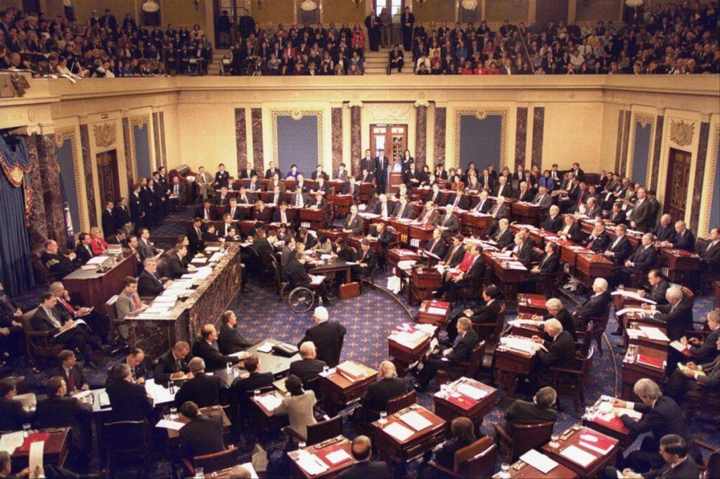 Amerikaanse Senaat tijdens het impeachment-proces tegen Bill Clinton, 1999