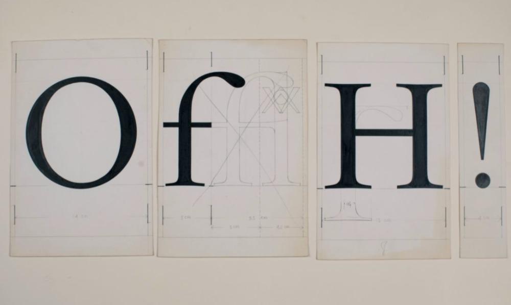 Pas ontdekte en aan Huis van het boek geschonken lettertekeningen van Jan van Krimpen voor Lumitype, 1957. Foto: Huis van het boek