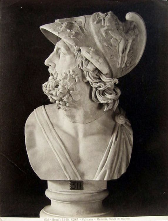 Marmeren buste van Menelaus zoals te zien in de Vaticaanse Musea