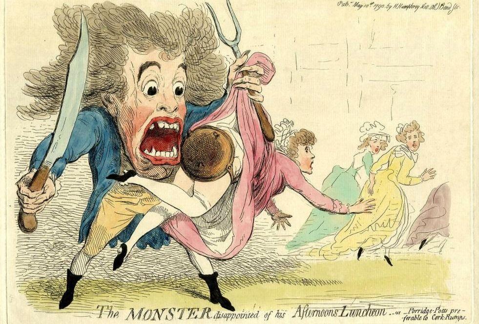 Karikatuur van het 'Monster van Londen' die teleurgesteld is over zijn middaglunch...