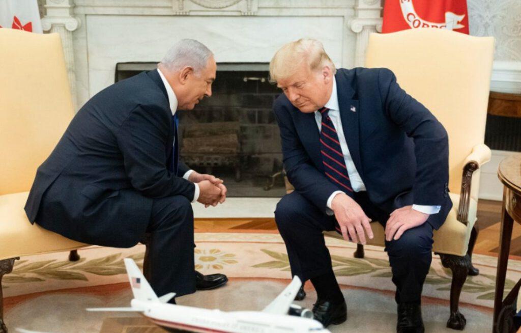 Benjamin Netanyahu en president Donald Trump tijdens een ontmoeting in het Witte Huis, 15 september 2020