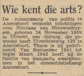 Bericht in 'De waarheid' van 2 juni 1948 over  Nicolaas van Nieuwenhuysen
